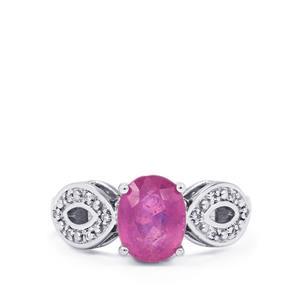 Ilakaka Hot Pink Sapphire & White Topaz Sterling Silver Ring ATGW 2.68cts (F)