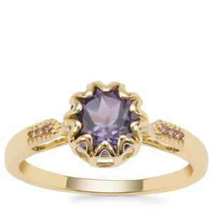 Montezuma Blue Quartz Ring with Champagne Diamond in 9K Gold 1.35cts