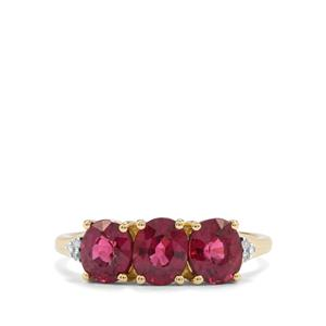 Comeria Garnet Ring with Diamond in 9K Gold 2.42cts