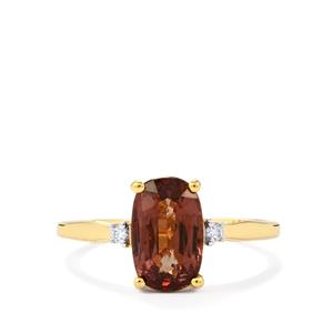 Colour Change Garnet Ring with Diamond in 18K Gold 2.48cts