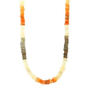 134ct Rainbow Moonstone Sterling Silver Graduated Bead Necklace