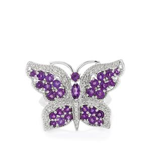 Ametista Amethyst & White Zircon Sterling Silver Papillon Ring ATGW 1.55cts