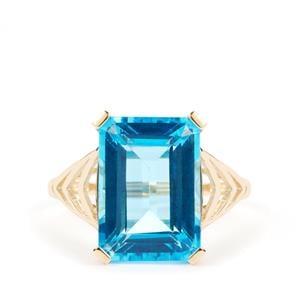 9.05ct Swiss Blue Topaz 9K Gold Ring