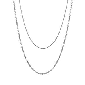Sterling Silver Set of Classico Rolo and Curb Chain 3.67g