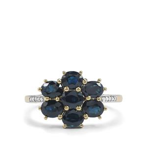 Australian Blue Sapphire Ring with Diamond in 9K Gold 2.27cts