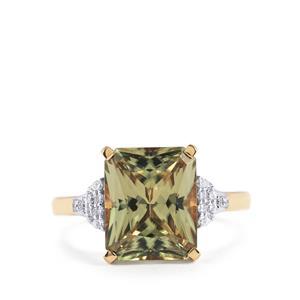 Csarite® & Diamond 18K Gold Lorique Ring MTGW 4.94cts