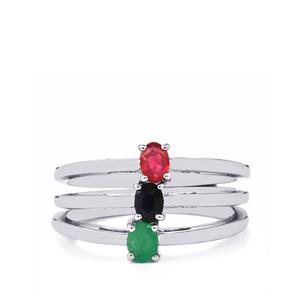 Carnaiba Brazilian Emerald, Malagasy Ruby Set of 3 Rings with Thai Sapphire in Sterling Silver 0.58cts (F)