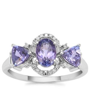 AA Tanzanite Ring with Diamond in 9K White Gold 1.45cts