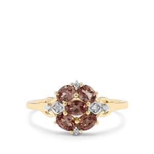 Bekily Colour Change Garnet & Diamond 9K Gold Ring ATGW 1.05cts