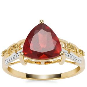 Red Labradorite Ring with Yellow Diamond in 9K Gold 1.90cts