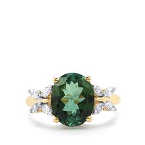 Green Tourmaline Ring with Diamond in 18K Gold 3.83cts