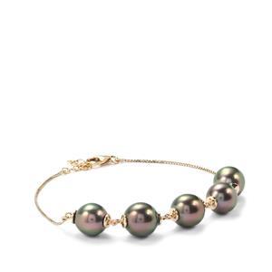 Tahitian Cultured Pearl Bracelet in 9K Gold (9.50mm X 9 mm)