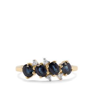 Australian Blue Sapphire & White Zircon 9K Gold Ring ATGW 1.37cts