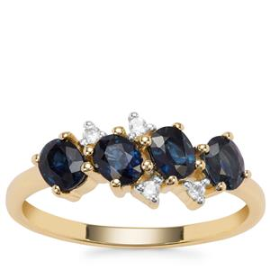 Australian Blue Sapphire Ring with White Zircon in 9K Gold 1.37cts
