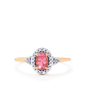 Pink Spinel Ring with White Zircon in 10k Rose Gold 0.66cts