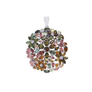 Rainbow Tourmaline Pendant in Sterling Silver 18.78cts