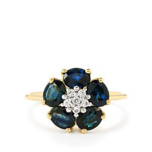 Australian Blue Sapphire & White Zircon 10K Gold Ring ATGW 2.28cts