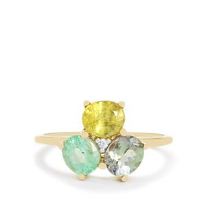 Harlequin Gems Ring in 10K Gold 2.05cts