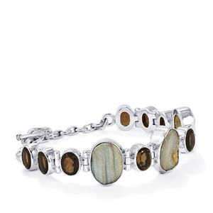 Maranhao Drusy & Smokey Quartz Sterling Silver Aryonna Bracelet ATGW 36.40cts