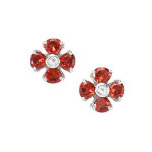 Octavian Garnet & White Topaz Sterling Silver Romulus Earrings ATGW 2.39cts
