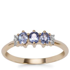 Ceylon Sapphire Ring with White Zircon in 10K Gold 0.63ct