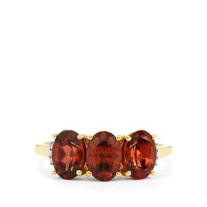 Zanzibar Zircon Ring with Diamond in 10k Gold 3.69cts