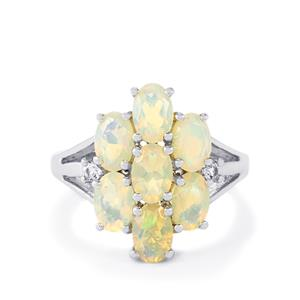 Ethiopian Opal & White Topaz Sterling Silver Ring ATGW 2.09cts