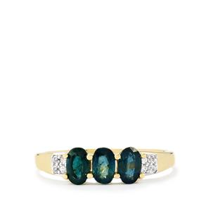 Nigerian Blue Sapphire & White Zircon 9K Gold Ring ATGW 1.05cts