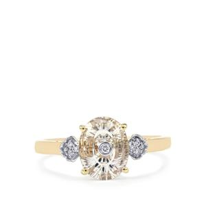 Lehrer TorusRing Rio Grande Lavender Quartz Ring with Diamond in 9K Gold 1.40cts