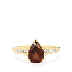 Colour Change Garnet & Diamond 14K Gold Tomas Rae Ring ATGW 2.68cts
