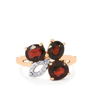 Natural Burmese Spinel Ring with Diamond in 10k Rose Gold 3.55cts