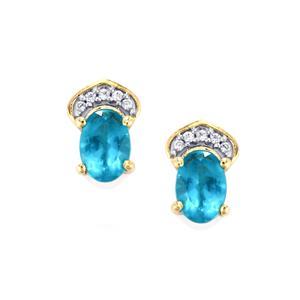 Neon Apatite & White Zircon 10K Gold Earrings ATGW 1.21cts