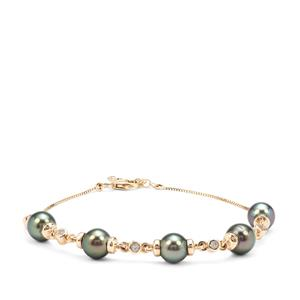 Tahitian Cultured Pearl Bracelet with White Zircon in 9K Gold (7mm)
