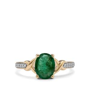 Minas Gerais Emerald Ring with White Zircon in 9K Gold 1.54cts