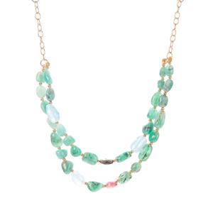 Carnaiba Brazilian Emerald, Multi-Colour Tourmaline, Aquamarine & Tourmalinated Quartz Sarah Bennett Necklace in Gold Tone Sterling Silver 75.55cts