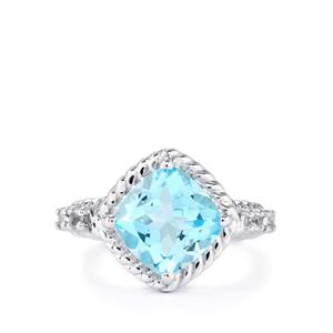 Sky Blue Topaz Ring with White Topaz in Sterling Silver 5.05cts
