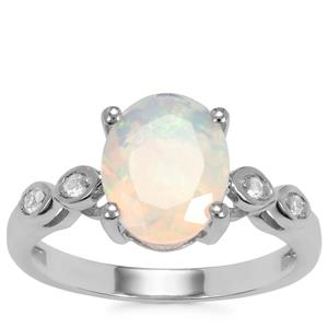 Ethiopian Opal Ring with White Topaz in Sterling Silver 1.53cts