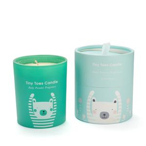 Tiny Toes Collection - Baby Powder Fragranced Candle with Carved Teddy Bear Gemstone ATGW 45cts