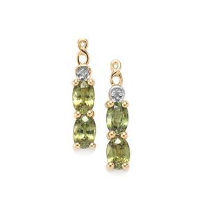 Ambanja Demantoid Garnet Earrings with Diamond in 9K Gold 1.94cts