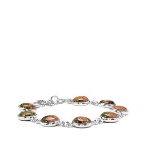 Unakite Bracelet in Sterling Silver 32.94cts