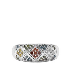 1/3ct Multi-Colour Diamond Sterling Silver Ring