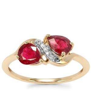 Rubellite Ring with White Zircon in 9K Gold 1.22cts