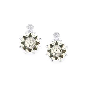 Lehrer KaleidosCut White Quartz, Ceylon Sapphire & Diamond 10K White Gold Earrings ATGW 3.76cts