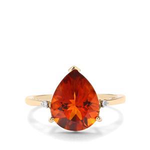 Madeira Citrine & Diamond 10K Gold Ring ATGW 3.47cts