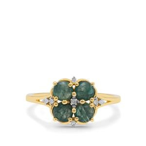 Grandidierite & Diamond 9K Gold Ring ATGW 1.20cts