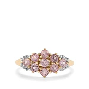 Mahenge Pink Spinel & White Zircon 9K Gold Ring ATGW 1.15cts