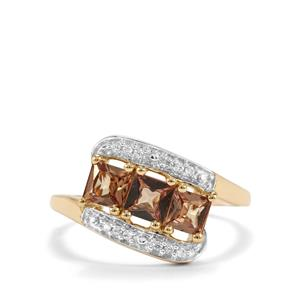 Natural Tanzanian Champagne Garnet Ring with White Zircon in 9K Gold 1.07cts