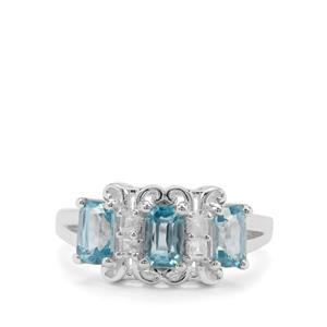 3.24ct Ratanakiri Blue & White Zircon Sterling Silver Ring