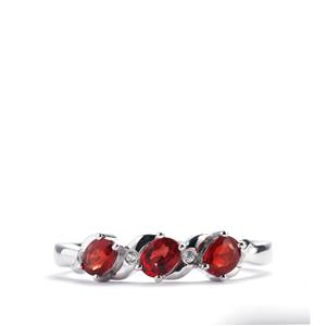 Winza Ruby Ring with White Zircon in 10K White Gold 0.72cts