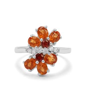 Mandarin Garnet, Nampula Garnet & White Zircon Sterling Silver Ring ATGW 3.84cts